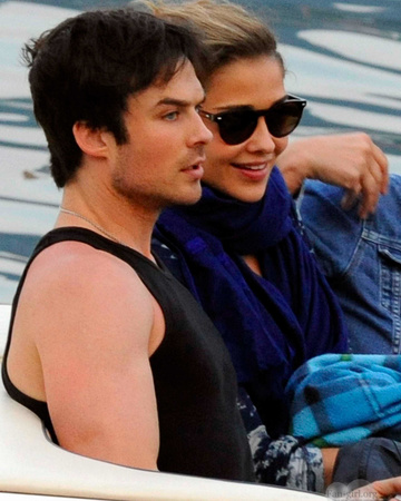 07-04 Ana and Ian Somerhalder on break from shooting the Azzarro fragrance commercial in Italy