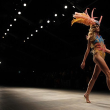 A model presents a creation from the Issa 2012 Spring/Summer collection during London Fashion Week